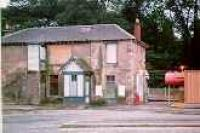 View looking north at Bearsden station building before conversion to a Beefeater restaurant.<br><br>[Ewan Crawford //]