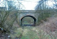 Bridge carrying Industry Road in Kirkintilloch. According to the Kirkintilloch Town Plan of 1859 the building you see is the United Original Secession Manse <br><br>[Colin Harkins 09/04/2006]