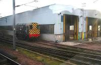 Wabtec shunter 08615 stands outside Craigentinny depot on 28 December. Grab shot from a passing train. <br><br>[John Furnevel 28/12/2006]