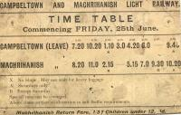 Old timetable fom the Campbeltown and Machrihanish Light Railway.<br><br>[Ian Dinmore //]