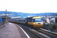 An InterCity 125 departs from Bath in May 1985.<br><br>[John McIntyre /05/1985]