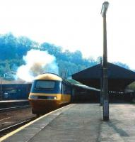 InterCity 125 at Bath in 1985. The now famous brand first appeared on a Paddington - Wolverhampton train <I>The Inter-City</I> in 1950. It went on to be poached by transport operators around the world. <br><br>[John McIntyre //1985]