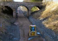 Alloa, 250107. Tracklaying progress to the west of the old station site. <br><br>[Bill Roberton 25/01/2007]
