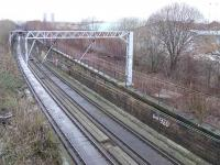 Does anyone know why the trackbed is concrete? Lower line is the Glasgow Central Railway with the redundant Switchback Line rising to Dalmarnock on the right.<br><br>[Colin Harkins 10/02/2007]