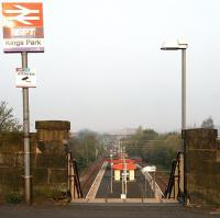 Entrance to Kings Park station from Kingsbridge Drive on 15 April 2007. View is west towards Cathcart East Junction.<br><br>[John Furnevel 15/04/2007]