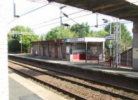 Scene at Cartsdyke station on 29 July 2007 - looking northwest across the tracks to <br>  the Glasgow platform. <br><br>[John Furnevel 29/07/2007]