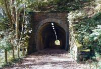 Old Woodhouselee tunnel at Auchendinny on the Penicuik branch on 5 October. View looks southwest towards the station and the remains of Dalmore Mill. The old mill, which stood in the area between the tunnels dated from 1837 and final closure in 2004 brought to an end a long history of mills and paper - making on this part of the North Esk.<br><br>[John Furnevel&nbsp;05/10/2007]
