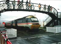 Virgin Trains 43 097 makes a stop at Carnoustie on 17 July 1999 during the Open golf championships.<br><br>[David Panton 17/07/1999]