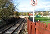 Buffer stops stand at the current terminus of the line at Colne on 9 November 2007. A double track once continued northeast from here to Skipton, the junction for Carlisle, Leeds and Bradford. A local rail action group is currently campaigning for the reopening of this route.<br><br>[John McIntyre 09/11/2007]