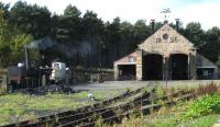 The shed at Beamish on 18 October 2006. In steam on the left stands the replica of Puffing Billy being made ready for its next run.<br><br>[John McIntyre 18/10/2006]