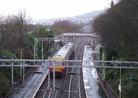 Glasgow Central bound 334004 passing through Cartsdyke on 14th January<br><br>[Graham Morgan 14/01/2008]
