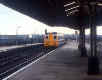 Prototype class 140 on a test run arriving at Birmingham Moor Street past waiting photographers in 1981.<br><br>[Ian Dinmore //1981]