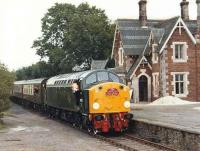 D200/40122 with the <I>Hadrian Pullman</I> railtour from Kings Cross at Appleby East on its way to Warcop on 31 July 1983. [See image 30390] for a 2010 view.<br><br>[Colin Alexander 31/07/1983]