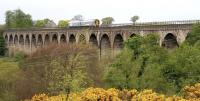 A 158 crossing the Avon Viaduct on the approach to Linlithgow in May 2005.<br><br>[John Furnevel 30/05/2005]