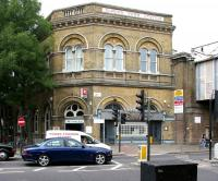 The 1850 North London Line station on Camden Road, standing alongside the rail bridge over the A503, seen in July 2005. Note the original name Camden Town (changed 55 years previously) still prominent along the top of the building. The current name Camden Town is applied to the London Underground Northern Line station located 400m south west of here.<br><br>[John Furnevel 21/07/2005]