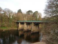 Two bridges in quick succession carried the Lancaster to Wennington line over the horseshoe bend in the river between Halton and Caton known as the Crook O Lune. This is the more easterly of the two and they both now carry the cycle path from Lancaster [See image 22834]. (SD 522647) <br><br>[Mark Bartlett 10/04/2008]