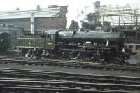 Jubilee 45697 <I>Achilles</I> stands in the carriage sidings outside Buchanan Street station in 1962. <br><br>[Colin Miller //1962]
