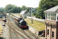 No 14 with a single coach about to run past the signal box at Beamish in the summer of 1980.<br><br>[John Furnevel 06/06/1980]