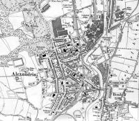 <B> Alexandria </B> Map of 1923 showing LMSR/LNER Joint Line with Alexandria Station. This line had many works branches to the Argyll Motor Works and to many of the fabric print and dying works along the Vale of Leven.<br><br>[Alistair MacKenzie 28/08/2008]