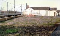 The now demolished station building in the V of the junction at Barassie. View looks north.<br><br>[Ewan Crawford //1989]