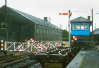 Signal box, crossing and shed at Athenry, County Galway, in 1988.<br><br>[Bill Roberton //1988]