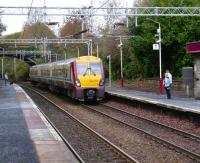 Eastbound 334 017 arriving at Cartsdyke on 1 November 2008 with a service for Glasgow Central.<br><br>[David Panton 01/11/2008]