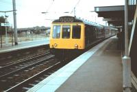 One of the last of the BR diesel-hydraulics, a class 127 DMU, at Bedford on 11 June 1983 about to leave with a service for St Pancras. These 4-car units, built at Derby in 1959, were used almost exclusively on the Bedford - St Pancras services and, perhaps inevitably, became known as <I>Bed-Pan</I> units.<br><br>[Colin Alexander 11/06/1983]