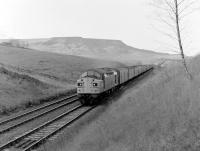 A class 40 on a parcels train at Ais Gill in November 1983 with Wild Boar Fell dominating the background. <br> <br><br>[Colin Alexander /11/1983]