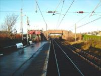 Looking towards Holm Junction from Ardrossan South Beach on 10 December. On the right is the freight only line used primarily by the Hunterston coal trains.<br><br>[David Panton 10/12/2008]