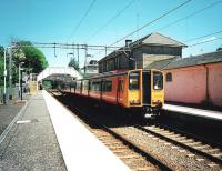 The first day of Sunday services on the Milngavie branch on 1 June 1997. 314 205 calls at Bearsden with a service to Motherwell via Bellshill.<br><br>[David Panton 01/06/1997]