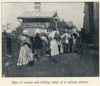 Great Siberian Railway runs between Vladivostock and St Petersburg and eventually Murmansk. Here onions and boiling water are on sale to travellers. Yum, yum. [Extract from GSR Guide of 1900]<br><br>[Alistair MacKenzie //2009]