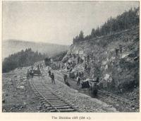 Great Siberian Railway runs between Vladivostock and St Petersburg and eventually Murmansk. Work being undertaken on the Shiska cliff. [Extract from GSR Guide of 1900]<br><br>[Alistair MacKenzie //2009]