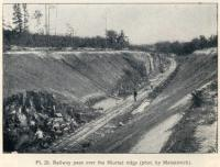 Construction of the Great Siberian Railway between Vladivostock and St Petersburg and eventually Murmansk. The pass over the Niurtse ridge. Photo by Matskevitch [Extract from GSR Guide of 1900]<br><br>[Alistair MacKenzie //2009]