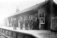 Old photograph sent in by Ian Steele taken at Coalburn, Lanarkshire, around 1925. On the right is Ian's father Tom Steele (1905-1979) who started work here as a booking clerk. Tom Steele went on to become the country's youngest Station Master before being elected Member of Parliament for Lanark in 1945. He later served as MP for Dunbartonshire West before finally retiring in 1970.<br><br>[Ian Steele Collection //1925]