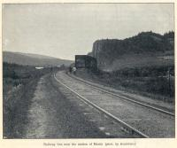 The line near Miniar Station. The Great Siberian Railway between Vladivostock and St Petersburg and on to Murmansk, it was continued on to Peking and was built between 1891 and 1916. Photo by Arsentiev. [Extracts from GSR Guide of 1900].<br><br>[Alistair MacKenzie //2009]