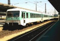 Two generations of multiple units stand at Augsburg, Germany, in June 1990. <br> <br><br>[John McIntyre /06/1990]