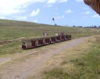 Former trailers used to transport sugar cane, now lying in a disused siding alongside the St Kitts narrow gauge railway on 14 March 2009.