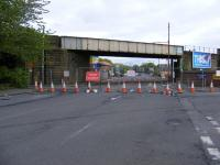 View from Dalmarnock Road looking east. Traffic cones have closed off the road on both sides of the soon to be dismantled bridge! The new EERR will follow the former route of the switchback line from here through to the M80 at Provan. <br> <br><br>[Colin Harkins 27/04/2009]