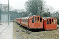 The tram shed at Beamish in 1979 with the 6 redunant ex-Glasgow Subway cars, obtained by the museum 2 years previously, standing alongside. [See image 23003]  <br><br>[Colin Miller //1979]