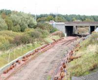 The old single line stops at the site of Bangour Junction in October 2008, just prior to redoubling here.<br><br>[James Young 12/10/2008]