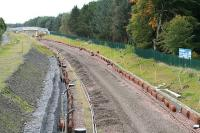 <i>No trains today then?</i> Part of the line near Bangour Jct awaits relaying as redoubling nears completion in October 2008.<br><br>[James Young 12/10/2008]