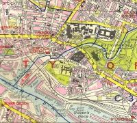 Area of Partick Central station and goods yard from old 4 inch to 1 mile map of Glasgow.<br><br>[Alistair MacKenzie 23/06/2009]