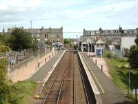 Looking east over Broughty Ferry station from Fort Street bridge on 23 May 2007 with the outline of the former bay platform still visible on the right. [See image 5940]<br><br>[David Panton 23/05/2007]