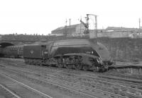 A4 Pacific no 60034 <I>Lord Farringdon</I> backs out of Glasgow's Buchanan Street station around 1964 having recently arrived on one of the fast services from Aberdeen.<br><br>[K A Gray //1964]
