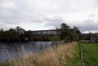 The 198ft long lattice girder bridge that once carried the railway across the River Spey at Ballindalloch. Built by G.Macfarlane of Dundee in 1863 it is now used by walkers and cyclists as part of the Speyside Way.<br><br>[John Gray 20/10/2009]
