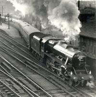 Stanier Black 5 no 45468, immaculately turned out by St Rollox shed, takes the <I>'Fife Coast Express'</I> out of Buchanan Street in 1959 at the commencement of its cross-country journey to St Andrews [see image 34385]. Even the signalman seems impressed.<br> <br><br>[Gordon Smith Collection (Courtesy Ken Browne) //1959]