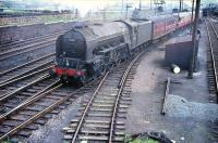 Haymarket A2 Pacific no 60537 <I>Bachelor's Button</I> brings empty stock bound for Waverley out of Craigentinny sidings in 1958.<br><br>[A Snapper (Courtesy Bruce McCartney) //1958]