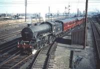 B1 4-6-0 no 61007 <I>Klipspringer</I> gets the road out of Craigentinny sidings on 30 September 1959 with a train of empty stock bound for Waverley.<br><br>[A Snapper (Courtesy Bruce McCartney) 30/09/1959]