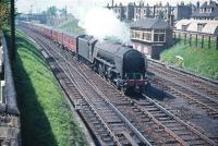 Thompson A2 Pacific no 60516 <I>Hycilla</I> takes an ECML service south past Craigentinny signal box in June 1958.<br><br>[A Snapper (Courtesy Bruce McCartney) /06/1958]
