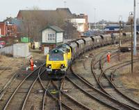 One of the new Freightliner class 70 locomotives brings a coal train for Fiddlers Ferry power station west through Arpley Junction, Warrington, on 3 March 2010.<br><br>[John McIntyre 03/03/2010]
